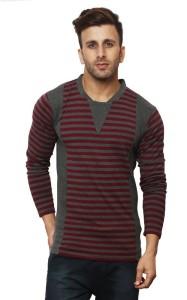 Leana Striped Men Henley Grey, Maroon T-Shirt