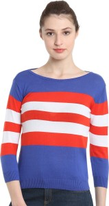 United Colors of Benetton Casual 3/4th Sleeve Striped Women's Blue Top