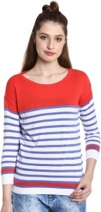 United Colors of Benetton Casual 3/4th Sleeve Striped Women's Red Top