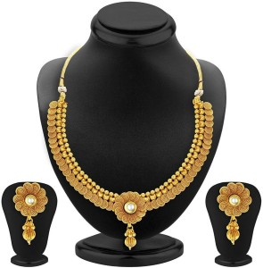 b589220b4e6561 Meenaz Meenaz Jewellery Gold plated Jewellery Set for women with Ear rings  for girls Traditional One gram Copper Pearl Kundan Pendant Necklace Set  Earrings ...