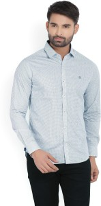 United Colors of Benetton. Men's Printed Casual White, Blue Shirt