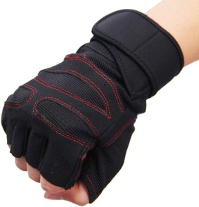 Leosportz Weight lifting wrist support Gym & Fitness Gloves (Free Size, Red, Black)