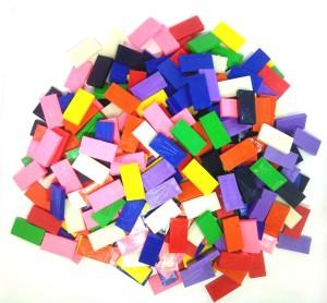 Domino Rush Assorted  Toppling Dominoes   Ten Colors   300 Pcs   Square Edge
