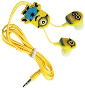 Adnet Z-20 Yellow Minions In ear Headphone Wired Headset with Mic