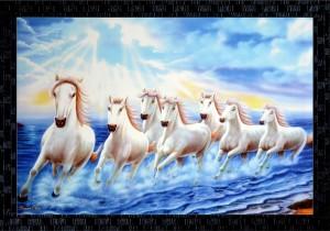 Janki Lucky Seven 7 White Running Horses Vastu Wall Painting Canvas