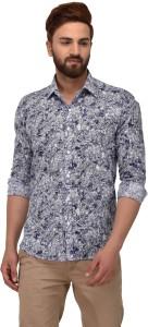Deeksha Men's Printed Casual Blue Shirt