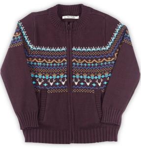 4e371b752 Allen Solly Junior Self Design Round Neck Casual Boys Maroon Sweater ...