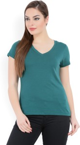 United Colors of Benetton Solid Women's V-neck Green T-Shirt