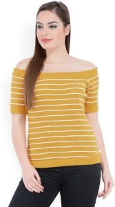 United Colors of Benetton Casual Half Sleeve Striped Women's Yellow, White Top