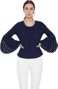 Arv Fashion Casual Bell Sleeve Solid Women's Blue Top