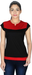 ALC Creations Solid Women Round Neck Black, Red T-Shirt
