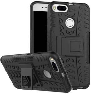 AKSHAR Back Cover for AKSHAR® Hybrid Hard/ Smooth Edge TP With Kick Stand Rugged Back Case Cover For Xiaomi Mi Redmi Mi A1 [Black]