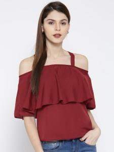 U&F Casual Shoulder Strap Solid Women Maroon Top