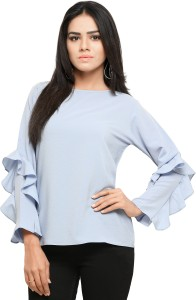 474096d558d520 Serein Party Full Sleeve Solid Women s Blue Top Best Price in India ...