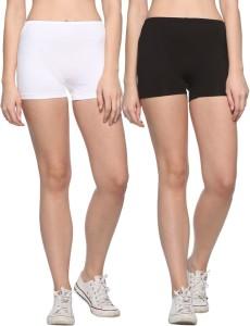 69Gal Solid Men & Women White, Black Compression Shorts