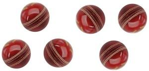 Tima Sports Fun Set Of 6 Club Leather Cricket Ball 2 Part Cricket Ball -   Size: 3