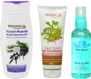 32a74fa9c PATANJALI KESH KANTI ANTI DANDRUFF SHAMPOO WITH PROTEIN CONDITIONER AND  PINK ROOT HAIR SERUM