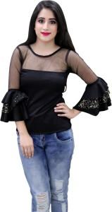CrazeVilla Party Bell Sleeve Solid Women's Black Top