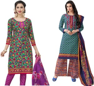 HRINKAR Cotton Printed Salwar Suit Dupatta   Waistcoat Material Un stitched