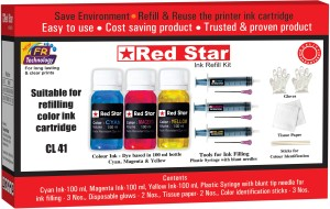 Red Star refill ink for canon 41 color cartridge Multi Color Ink