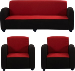 Bharat Lifestyle Quatra Fabric 3 1 1 Red Black Sofa Set