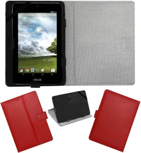 ACM Flip Cover for Asus Memopad Red, Cases with Holder, Artificial Leather