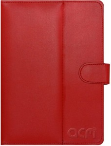 ACM Book Cover for Micromax Canvas P681 Red, Cases with Holder, Artificial Leather