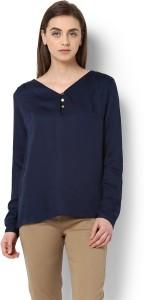 Van Heusen Casual Full Sleeve Solid Women Blue Top