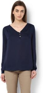 Van Heusen Casual Full Sleeve Solid Women's Blue Top