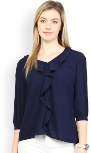 Era Style Party 3/4th Sleeve Solid Women's Blue Top