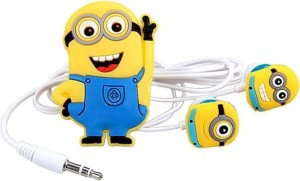 IMPROVHOME Minion Cartoon Earphone for Android Mobile,Windows Phone,Media Player Wired Headphone (Yellow, In the Ear) Wired Headset with Mic