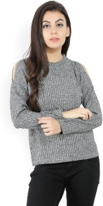 United Colors of Benetton Casual Full Sleeve Striped Women's Black, Grey Top