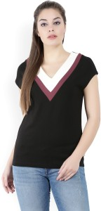 United Colors of Benetton Casual Cap Sleeve Solid Women's Black Top
