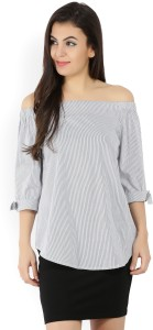 United Colors of Benetton Casual 3/4th Sleeve Striped Women's Black, White Top
