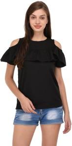THE MAYA'S Party Half Sleeve Solid Women Black Top
