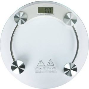 Granny Smith Personal Health Bathroom 8MM Round Transparent Glass Step-on Activation Digital Weight Machiine Weighing Scale