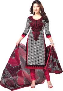 Reya Crepe Polka Print Salwar Suit Dupatta Material Un stitched  Reya Dress Materials