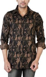 Jai Textiles Men's Military Camouflage Casual Brown Shirt