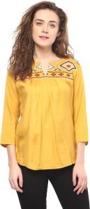 Mayra Casual 3/4th Sleeve Printed Women's Yellow Top