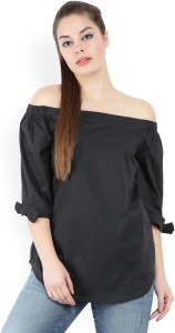 United Colors of Benetton Casual 3/4th Sleeve Solid Women's Black Top