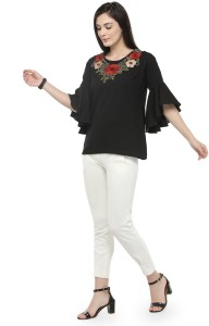 Pluss Casual Bell Sleeve Embroidered Women's Black Top