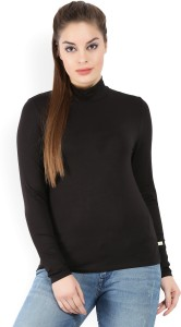 United Colors of Benetton Casual Full Sleeve Solid Women's Black Top