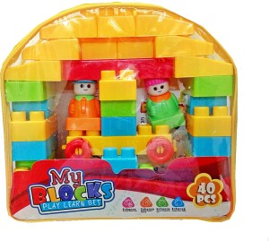 TALKING GANESHA 40 Pieces Building Blocks with Stickers for kids (Multicolor Big Size Blocks)