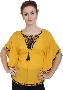 Forelevy Party Butterfly Sleeve Embroidered Women Yellow Top