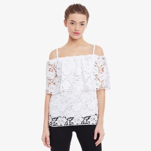 Miss Chase Party Short Sleeve Embroidered Women's White Top