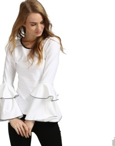 Era Style Party Full Sleeve Solid Women's White Top
