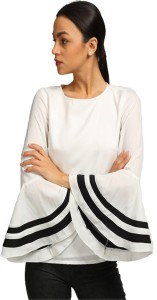 Era Style Party Bell Sleeve Solid Women's White Top