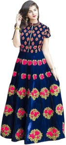 d4568c00bd Siddeshwary Fab Poly Silk Embroidered Semi stitched Gown Best Price ...