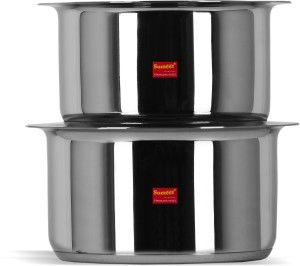 Sumeet 2 Pcs Stainless Steel Induction Bottom (Encapsulated Bottom) Induction & Gas Stove Friendly Container Set / Tope / Cookware Set With Lids Size No.11 & No.12 Pot 1.7 L