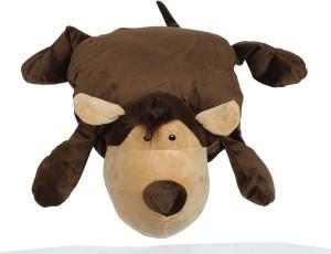 Babies Bloom Brown Dog Shaped Pillow /Toy cum Mink Blanket  - 25 cm